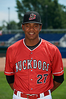 Batavia Muckdogs Jerar Encarnacion (27) poses for a photo on July 2, 2018 at Dwyer Stadium in Batavia, New York.  (Mike Janes/Four Seam Images)