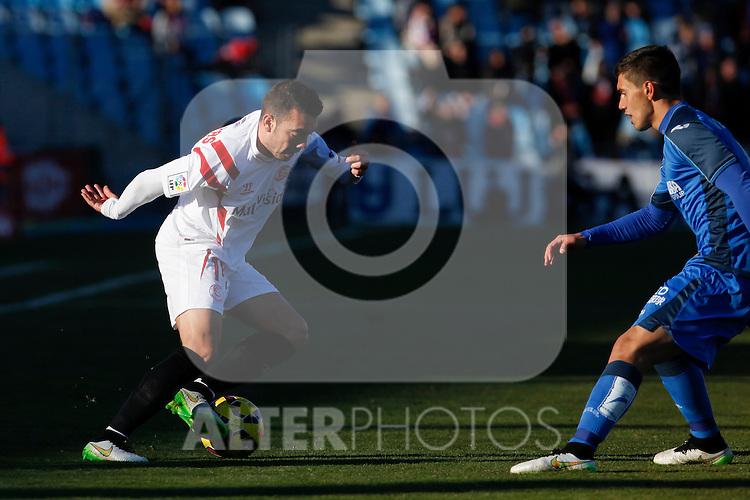 Getafe´s Velazquez (R) and Sevilla´s Iago Aspas during 2014-15 La Liga match at Alfonso Perez Coliseum stadium in Getafe, Spain. February 08, 2015. (ALTERPHOTOS/Victor Blanco)