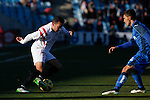 Getafe´s Velazquez (R) and Sevilla´s Iago Aspas during 2014-15 La Liga match at Alfonso Perez Coliseum stadium in Getafe, Spain. February 08, 2015. (ALTERPHOTOS/Victor Blanco)