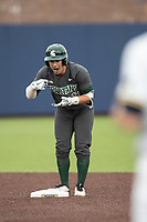 Michigan State Spartans second baseman Royce Ando (13) celebrates after hitting a double in the NCAA baseball game against the Michigan Wolverines on May 7, 2019 at Ray Fisher Stadium in Ann Arbor, Michigan. Michigan defeated Michigan State 7-0. (Andrew Woolley/Four Seam Images)