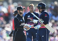 Kane Williamson congratualtes England's Jonny Bairstow after Bairstow scored a century. New Zealand Blackcaps v England. 5th ODI International one day cricket, Hagley Oval, Christchurch. New Zealand. Saturday 10 March 2018. © Copyright Photo: Andrew Cornaga / www.Photosport.nz