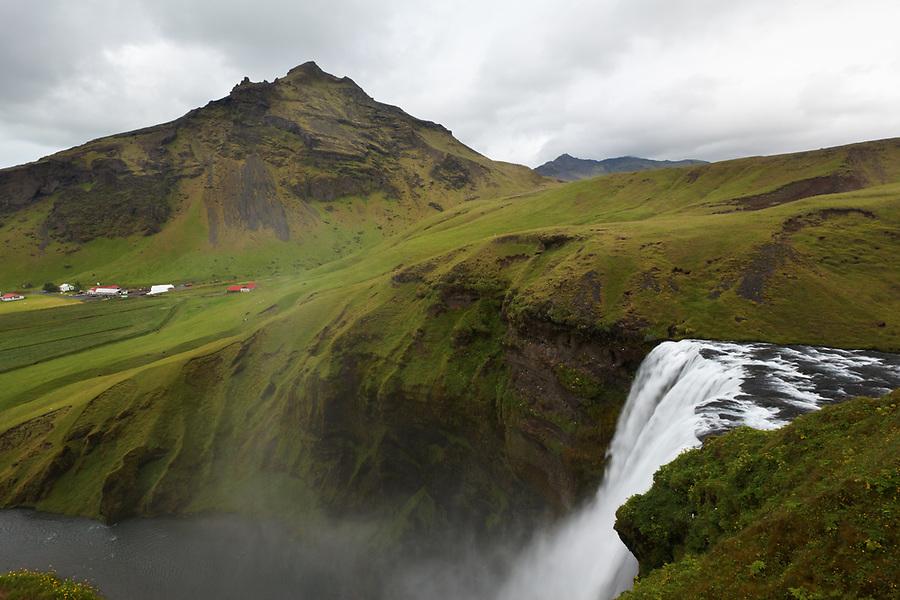Skógá River falls over Skógafoss waterfall, Skógar, South Region, Iceland