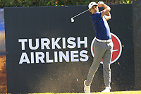 Julian Suri (USA) tees off the 8th tee during Saturday's Round 3 of the 2018 Turkish Airlines Open hosted by Regnum Carya Golf &amp; Spa Resort, Antalya, Turkey. 3rd November 2018.<br /> Picture: Eoin Clarke | Golffile<br /> <br /> <br /> All photos usage must carry mandatory copyright credit (&copy; Golffile | Eoin Clarke)