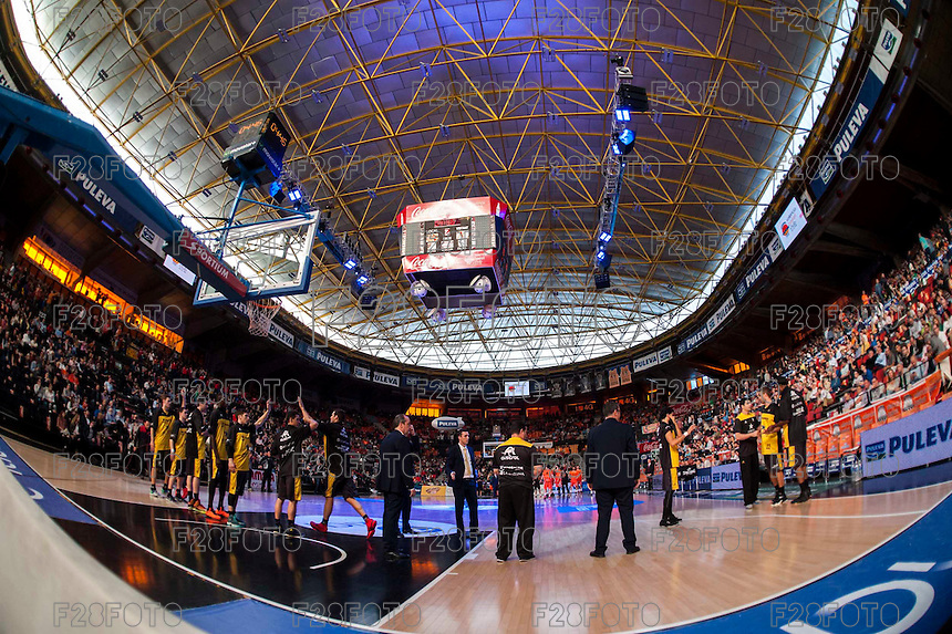 VALENCIA, SPAIN - APRIL 24: Iberostar Gran Canaria during ENDESA LEAGUE match between Valencia Basket Club and Iberostar Gran Canaria at Fonteta Stadium on April, 2016 in Valencia, Spain