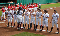 STANFORD, CA - April 2, 2011: The Stanford softball team lines up before Stanford's game against Arizona at Smith Family Stadium. Stanford lost 6-1.
