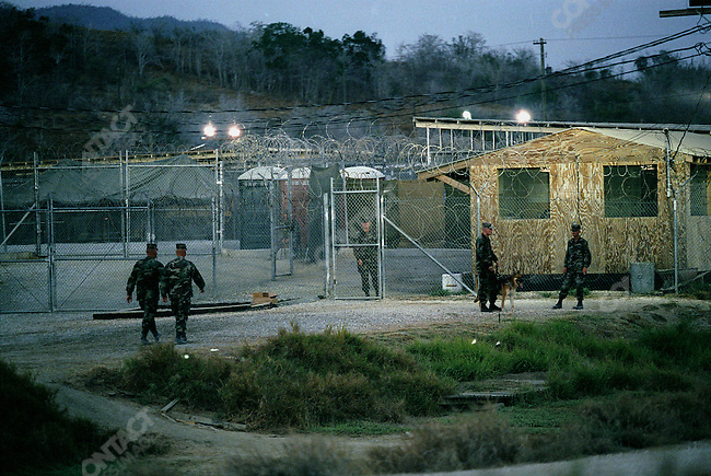 """Camp X-ray, US Millitary Prison for Taliban, al-Qaeda and other prisoners from the """"War on Terror"""". Guantanamo Bay, Cuba, March 2002"""