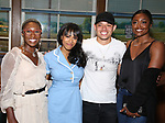 Cynthia Erivo, Nicolette Robinson, Anthony Ramos and Patina Miller backstage after Nicolette Robinson makes her Broadway debut in 'Waitress' on September 4, 2081 at the Brooks Atkinson Theatre in New York City.