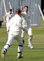 Matthew Rosson of North London celebrates bowling a Brentham player during the Middlesex County Cricket League Division Three game between North London and Brentham at Park Road, London, on Sat July 23, 2016