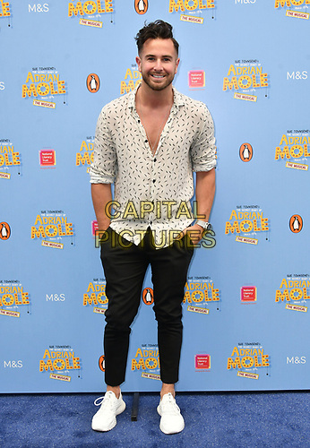 Aaron Renfree attends The Secret Diary Of Adrian Mole Aged 13 ¾ musical adaptation of Sue Townsend's comic fiction which opens in Adrian's 50th birthday year and follows the daily dramas and misadventures of the teenager's adolescent life, at Ambassadors Theatre, London, England on July 02, 2019.<br /> CAP/JOR<br /> ©JOR/Capital Pictures