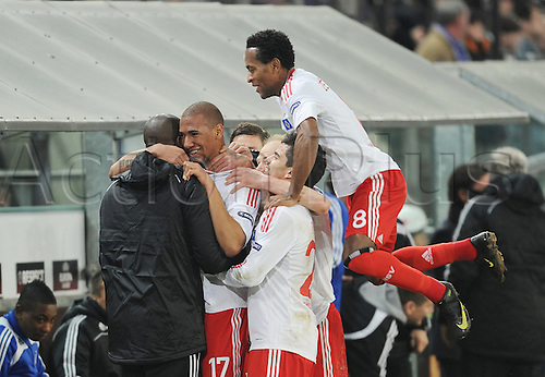Hamburg's Jerome Boateng (2-L) celebrates with teammates during the Euro League RSC Anderlecht vs Hamburger SV at Constant-Vanden-Stock-Stadium in Brussels, Belgium, 18 March 2010. Anderlecht won 4-3, but Hamburg went on to the quarter finals. Actionplus. Editorial Use UK.