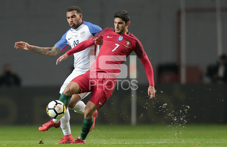 Leiria, Portugal - Tuesday November 14, 2017: Danny Williams, Gonçalo Guedes during an International friendly match between the United States (USA) and Portugal (POR) at Estádio Dr. Magalhães Pessoa.