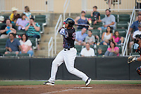 Antonio Rodriguez (30) of the Kannapolis Intimidators follows through on his swing against the Delmarva Shorebirds at Kannapolis Intimidators Stadium on June 25, 2016 in Kannapolis, North Carolina.  The Intimidators defeated the Shorebirds 2-1.  (Brian Westerholt/Four Seam Images)