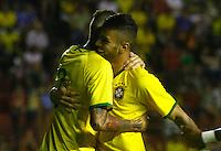 RECIFE,PE,11.11.2015 -BRASIL-ESTADOS UNIDOS- Gol de Luan do Brasil durante partida contra Estados Unidos em jogo amistoso de preparação para olímpiada 2016, na Ilha do Retiro, nesta quarta-feira,11. (Foto: Jean Nunes/Brazil Photo Press)