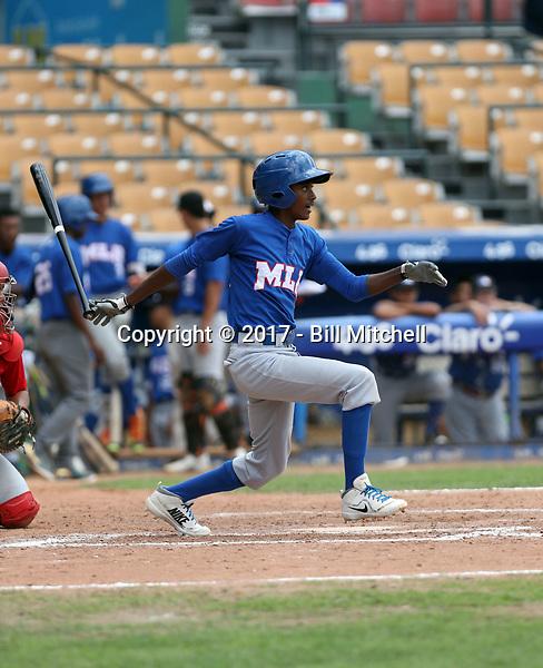 Rainer Polonius participates in the MLB International Showcase at Estadio Quisqeya on February 22-23, 2017 in Santo Domingo, Dominican Republic.