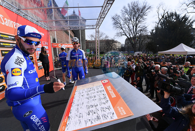 Fernando Gaviria (COL) Quick-Step Floors at sign on before the start of the 108th edition of Milan-San Remo 2017 by NamedSport the first Classic Monument of the season running 291km from Milan to San Remo, Italy. 18th March 2017.<br /> Picture: La Presse/Gian Mattia D'Alberto | Cyclefile<br /> <br /> <br /> All photos usage must carry mandatory copyright credit (&copy; Cyclefile | La Presse)