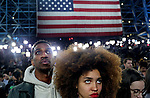 A crowd awaits Democratic presidential nominee Hillary Clinton to speak at the Javits Center in Manhattan, NY, on Election Day, Tuesday, Nov. 08, 2016, as the polls began to show Republican presidential nominee Donald Trump as the presumptive winner.  (Yana Paskova for NPR)