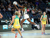 27.08.2016 South Africa's Prescoius Mthembu in action during the Netball Quad Series match between South Africa and Australia at Vector Arena in Auckland. Mandatory Photo Credit ©Michael Bradley.