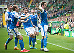 Celtic v St Johnstone &hellip;26.08.17&hellip; Celtic Park&hellip; SPFL<br />Steven MacLean celebrates his goal with David Wotherspoon, Michael O&rsquo;Halloran, Paul Paton and Brian Easton<br />Picture by Graeme Hart.<br />Copyright Perthshire Picture Agency<br />Tel: 01738 623350  Mobile: 07990 594431