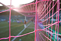Portland, OR - Saturday August 19, 2017: Pink nets in goal for breast cancer awarness during a regular season National Women's Soccer League (NWSL) match between the Portland Thorns FC and the Houston Dash at Providence Park.