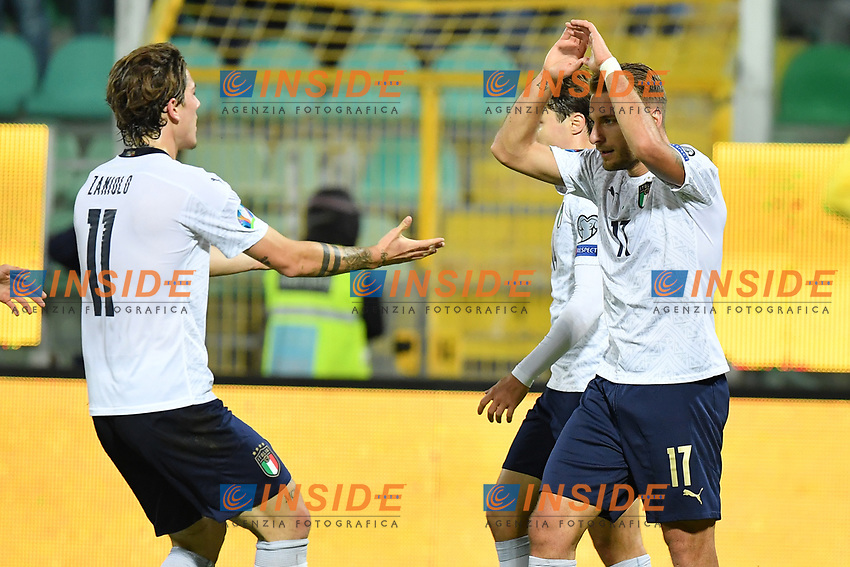 Italy's Ciro Immobile celebrates with teammates after scoring the 3-0 goal <br /> Palermo 18-11-2019 Stadio Renzo Barbera <br /> UEFA European Championship 2020 qualifier group J <br /> Italy - Armenia <br /> Photo Carmelo Imbesi / Insidefoto