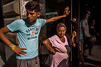 HAVANA, CUBA - SEPTEMBER 08: Cubans queue in front of a telephone store in order to purchase phone credit or internet credit on 8th of September, 2015 in Old Havana, (Habana Vieja) Cuba. <br /> <br /> Daniel Berehulak for The New York Times