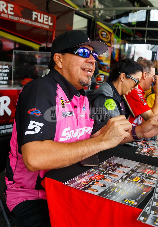 Oct 28, 2016; Las Vegas, NV, USA; NHRA funny car driver Cruz Pedregon during qualifying for the Toyota Nationals at The Strip at Las Vegas Motor Speedway. Mandatory Credit: Mark J. Rebilas-USA TODAY Sports