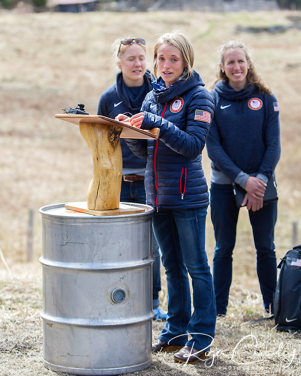 EAST MONTPELIER - USA Vermont Olympians speak at Morse Farm about the influence of climate change on winter sports they have experienced world wide and make suggestions on attacking the problem. Speaking, Liz Stephens, L/R Ida Sargent, Susan Dunklee.