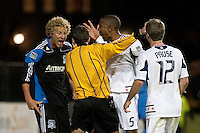 Steven Lenhart (eft) disagrees with the call of the refeee. The Chicago Fire defeated the San Jose Earthquakes after going 5-4 on penalty kicks, after a 2-2 score in regulation during the US Open Cup at Buck Shaw Stadium in Santa Clara, California on May 24th, 2011.