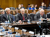 United States Senator Chuck Grassley (Republican of Iowa), Chairman, US Senate Committee on the Judiciary, center, presides during an executive business meeting on Capitol Hill in Washington, DC on Thursday, March 17, 2016.  Grassley repeated he will not conduct confirmation hearings on the nomination of Judge Merrick Garland as Associate Justice of the US Supreme Court replacing Justice Antonin Scalia. From left to right: President Pro Tempore of the United States Senate Orrin Hatch (Republican of Utah), a former Chairman of the US Senate Judiciary Committee; Senator Grassley; and US Senator Patrick Leahy (Democrat of Vermont), Ranking Member and former Chairman of the US Senate Judiciary Committee.<br /> Credit: Ron Sachs / CNP