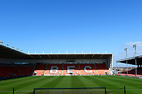A general view of Bloomfield Road, home of Blackpool FC<br /> <br /> Photographer Richard Martin-Roberts/CameraSport<br /> <br /> The EFL Sky Bet League One - Blackpool v Fleetwood Town - Saturday 14th April 2018 - Bloomfield Road - Blackpool<br /> <br /> World Copyright &not;&copy; 2018 CameraSport. All rights reserved. 43 Linden Ave. Countesthorpe. Leicester. England. LE8 5PG - Tel: +44 (0) 116 277 4147 - admin@camerasport.com - www.camerasport.com