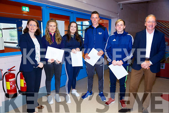 All smiles and happy faces for Leaving Cert Results Day in Colaiste na Sceilge pictured here l-r; Annemarie Killen(Deputy Principal), Hannah O'Leary, Chloe Galvin, John Murphy, Cian O'Shea & John O'Connor(Principal).