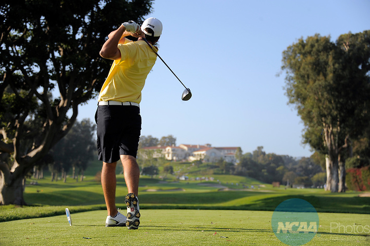 31 MAY 2012:  Corey Conners of Kent State University tees off during the Division I Men's Golf Championship held at the Riviera Country Club in Pacific Palisades, CA.  Conners tied for fourth place with a -1 score.  Jack Dempsey/NCAA Photos