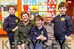 Triplets Tommy, John and Conor O'Muíneacháin with their grandparents Margaret O'Connor and John Moynihan at the Gaelscoil Mhic Easmainn Grandparents day on Thursday.