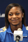 05 December 2013: UCLA's Taylor Smith. The head coach and selected players from teams participating in the 2013 Women's College Cup spoke to the media at WakeMed Stadium in Cary, North Carolina.