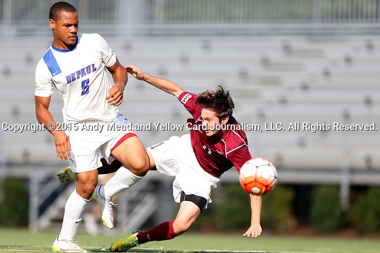 28 August 2015: DePaul's Jalen Harvey (BER) (5) defends against Elon's Luis Argudo (11). The Elon University Phoenix played the DePaul University Blue Demons at Koskinen Stadium in Durham, NC in a 2015 NCAA Division I Men's Soccer match. Elon won the game 4-0.