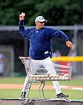 19 June 2008: Vermont Lake Monsters Pitching Coach Rusty Meacham throws some batting practice prior to a game against the Oneonta Tigers at historic Centennial Field in Burlington, Vermont. The Tigers defeated the Lake Monsters 13-8 in the rubber match of their three-game season opening series in Vermont...Mandatory Credit: Ed Wolfstein Photo
