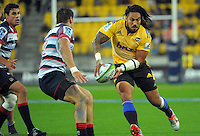 Ma'a Nonu in action during the Super Rugby match between the Hurricanes and Rebels at Westpac Stadium, Wellington, New Zealand on Friday, 13 March 2015. Photo: Dave Lintott / lintottphoto.co.nz