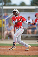 Lujames Groover III (39) during the WWBA World Championship at the Roger Dean Complex on October 10, 2019 in Jupiter, Florida.  Lujames Groover III attends The Walker High School in Morrow, GA and is committed to UNC-Charlotte.  (Mike Janes/Four Seam Images)