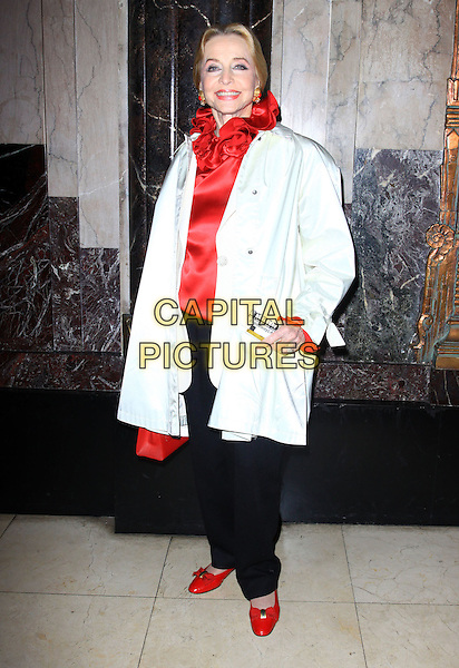 "ANNE JEFFREYS .Opening Night Of ""STOMP"" held At The Pantages Theatre, Hollywood, California , USA, 26th January 2010..arrivals full length silk satin coat white red ruffle neck blouse  top shoes .CAP/ADM/KB.©Kevan Brooks/AdMedia/Capital Pictures."