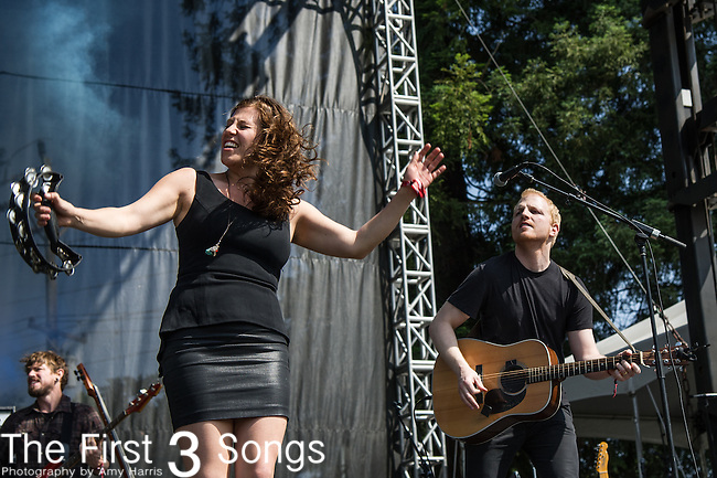 Elizabeth Hopkins  of Delta Rae performs at the 2nd Annual BottleRock Napa Festival at Napa Valley Expo in Napa, California.