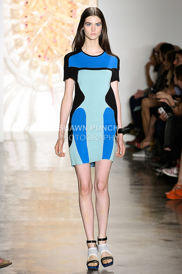 Manon walks runway in an outfit from the Ohne Titel Spring Summer 2013 collection by Alexa Adams and Flora Gill, during Milk Made Fashion Week Spring 2013 in New York City.