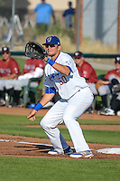 Scott De Jong (50) of the Ogden Raptors on defense against the Idaho Falls Chukars in Pioneer League action at Lindquist Field on June 23, 2015 in Ogden, Utah.  Idaho Falls beat the Raptors 9-6.(Stephen Smith/Four Seam Images)