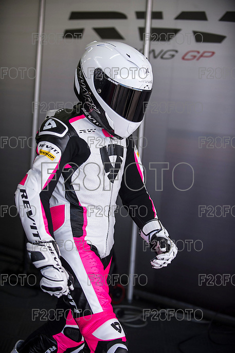 Ana Carrasco in her box at pre season winter test IRTA Moto3 & Moto2 at Ricardo Tormo circuit in Valencia (Spain), 11-12-13 February 2014