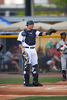 Lakeland Flying Tigers catcher Grayson Greiner (8) during a game against the Brevard County Manatees April 19, 2016 at Henley Field in Lakeland, Florida.  Lakeland defeated Brevard County 9-2.  (Mike Janes/Four Seam Images)