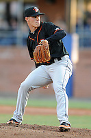 Delmarva Shorebirds Starting Pitcher Dylan Bundy #7 delivers a pitch during his professional debut against the Asheville Tourists, April 6, 2012. The Shorebirds won the game 7-2  (Tony Farlow/Four Seam Images)..