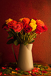 Warm light on multicolored roses in metal watering can vase