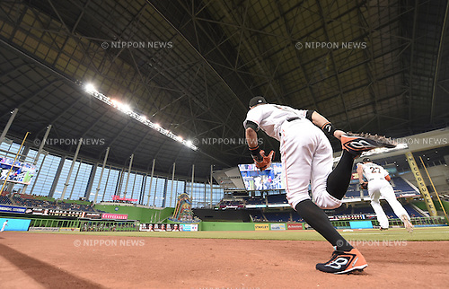 Ichiro Suzuki (Marlins),<br /> MAY 22, 2015 - MLB :<br /> Ichiro Suzuki of the Miami Marlins runs out on to the field during the Major League Baseball game against the Baltimore Orioles at Marlins Park in Miami, Florida, United States. (Photo by AFLO)