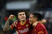 Football, Serie A: AS Roma - Brescia FC, Olympic stadium, Rome, November 24, 2019. <br /> Roma's Gianluca Mancini (l) celebrates after scoring with his teammate Chris Smalling (r) during the Italian Serie A football match between Roma and Brescia at Olympic stadium in Rome, on November 24, 2019. <br /> UPDATE IMAGES PRESS/Isabella Bonotto