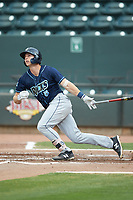 Brewer Hicklen (8) of the Wilmington Blue Rocks follows through on his swing against the Winston-Salem Warthogs at BB&T Ballpark on July 17, 2019 in Winston-Salem, North Carolina. The Blue Rocks defeated the Warthogs 4-1. (Brian Westerholt/Four Seam Images)
