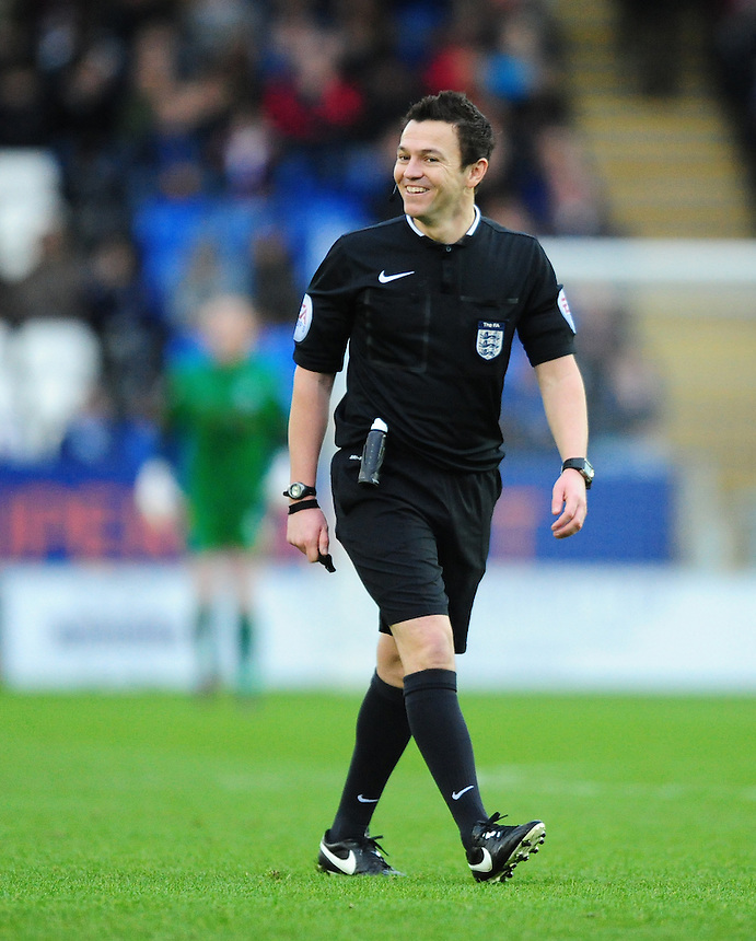 Referee Tony Harrington<br /> <br /> Photographer Chris Vaughan/CameraSport<br /> <br /> Football - The FA Cup Third Round - Peterborough United v Preston North End - Saturday 9th January 2016 - ABAX Stadium - Peterborough <br /> <br /> &copy; CameraSport - 43 Linden Ave. Countesthorpe. Leicester. England. LE8 5PG - Tel: +44 (0) 116 277 4147 - admin@camerasport.com - www.camerasport.com